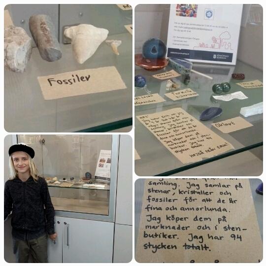 Erik visar sin stensamling på biblioteket i Huskvarna